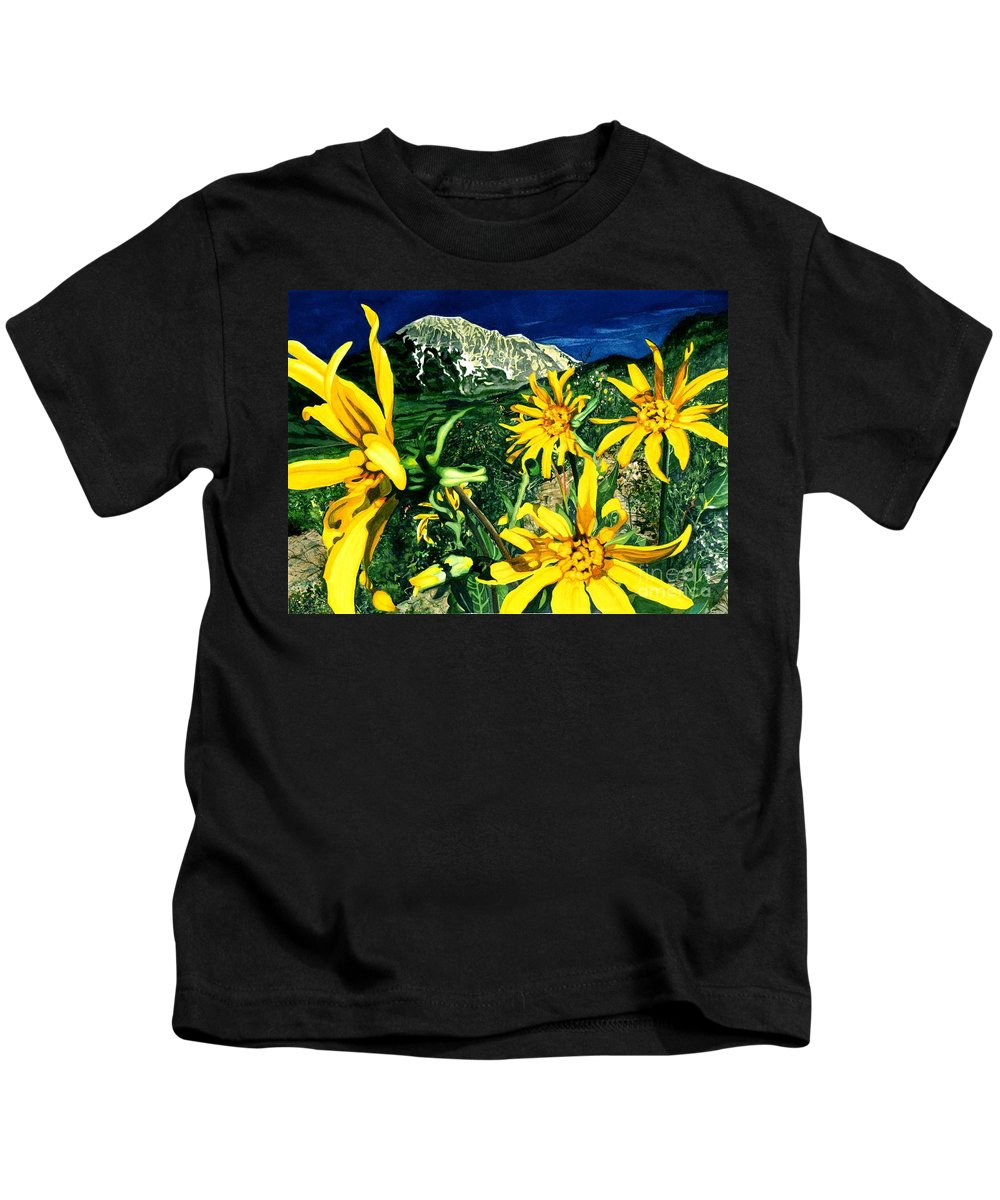 Flowers Kids T-Shirt featuring the painting Burst Of Summer by Barbara Jewell