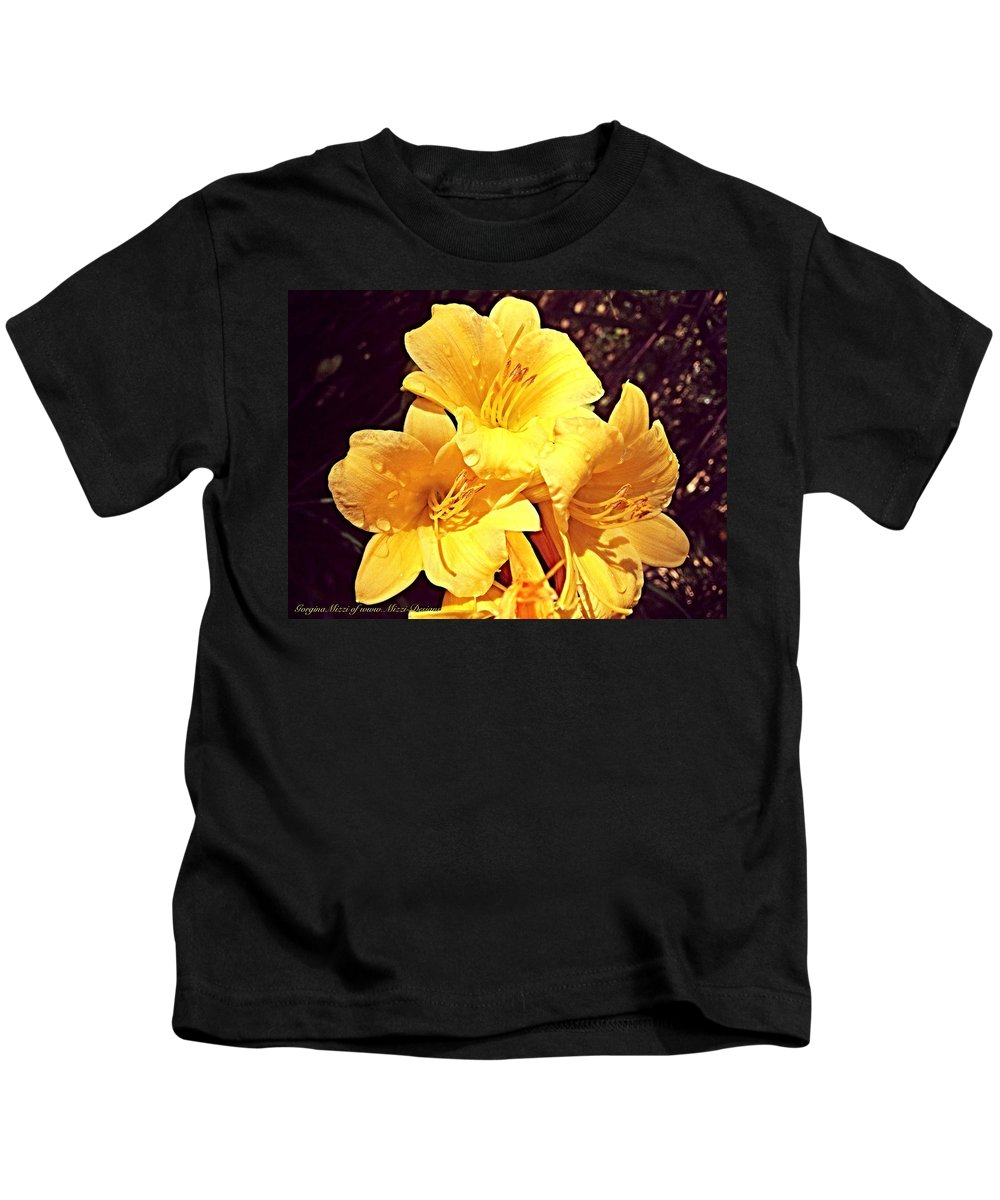 Lilly Kids T-Shirt featuring the photograph Butter Yellow Lilly Cluster by Georgina Mizzi