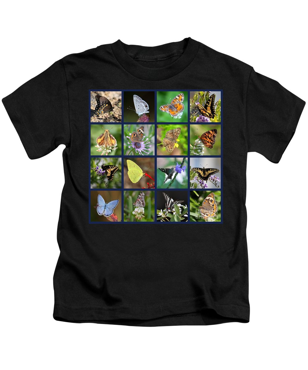 Collage Kids T-Shirt featuring the photograph Butterflies Squares Collage by Carol Groenen