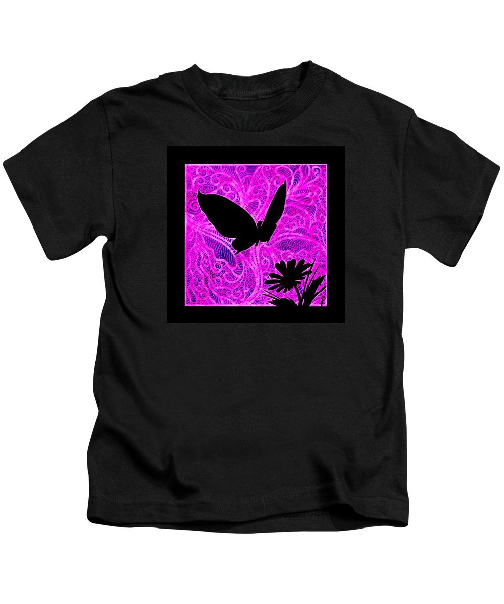 Butterfly Kids T-Shirt featuring the painting Butterfly and Daisy Silhouette by Jim Harris