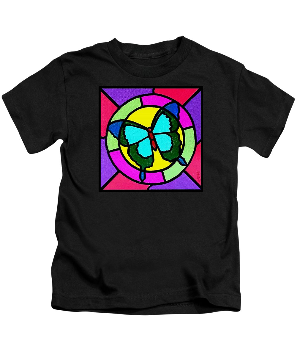 Butterfly Kids T-Shirt featuring the painting Butterfly in the Sun by Jim Harris