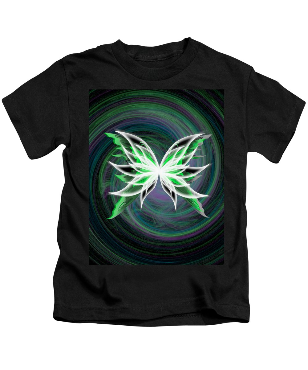 Green Kids T-Shirt featuring the digital art butterfly Motion by Teri Schuster