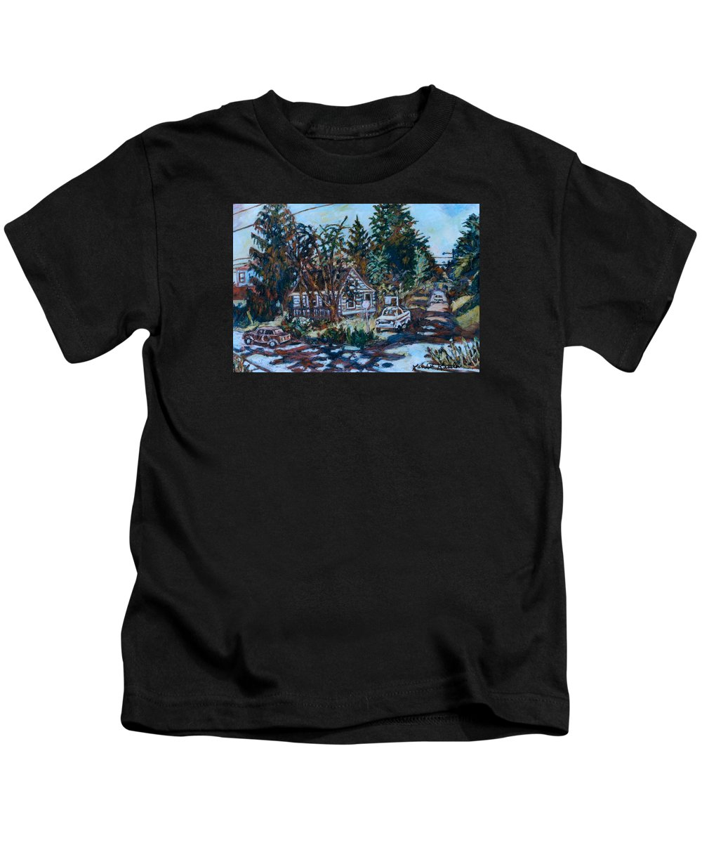 Town Kids T-Shirt featuring the painting Near Reeds by Kendall Kessler