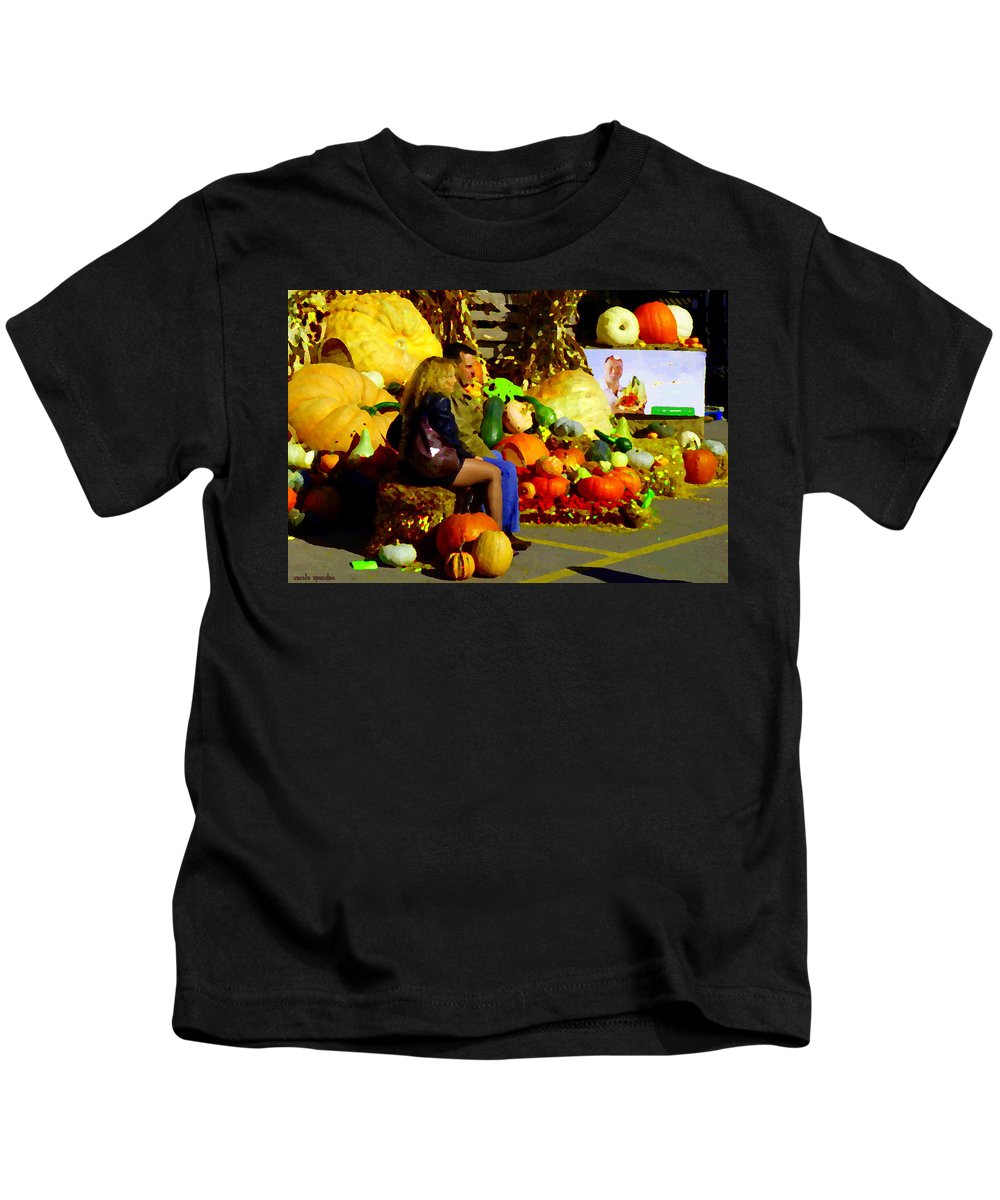 Markets Kids T-Shirt featuring the painting Cabbage Patch Kids - Giant Pumpkins - Marche Atwater Montreal Market Scene Art Carole Spandau by Carole Spandau