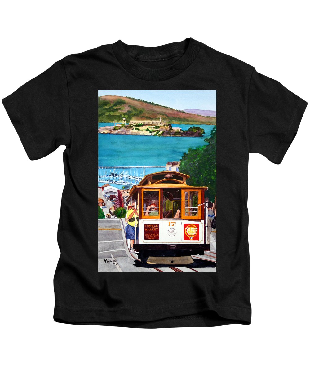 San Francisco Kids T-Shirt featuring the painting Cable Car No. 17 by Mike Robles