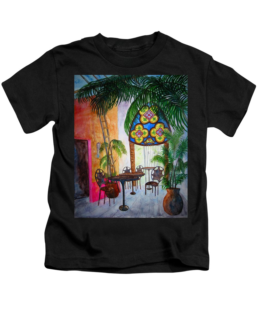 Cabo San Lucas Kids T-Shirt featuring the painting Cabo Cafe by Patricia Beebe