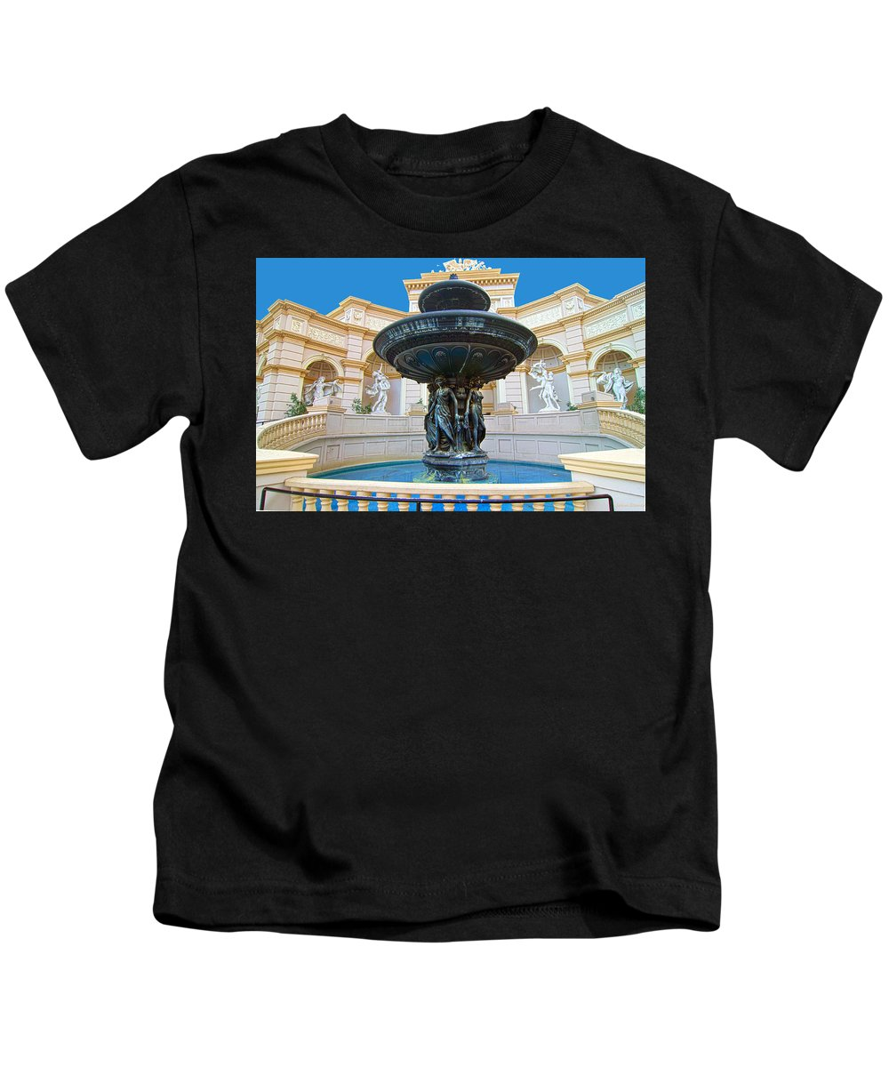 Caesars Kids T-Shirt featuring the photograph Caesars Fountain by John Dauer