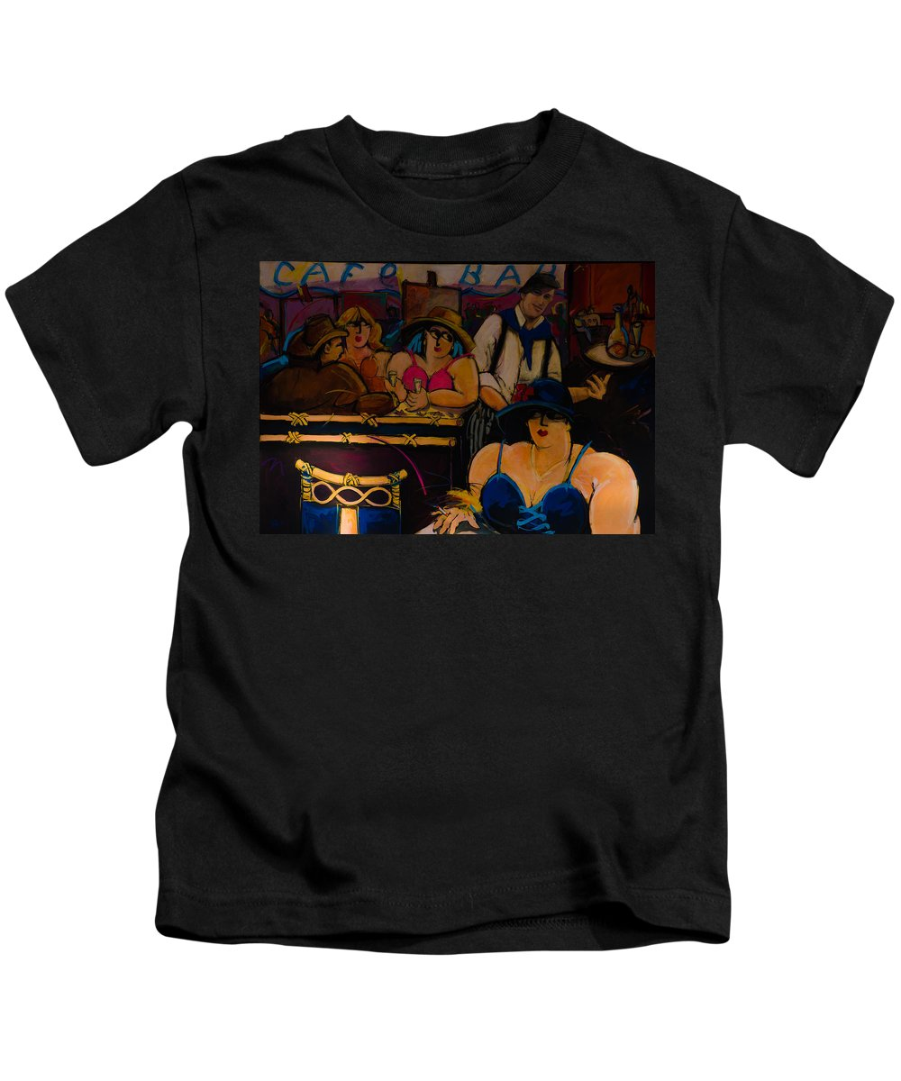 Tourism Kids T-Shirt featuring the photograph Cafe Bar In Montmartre by Dany Lison