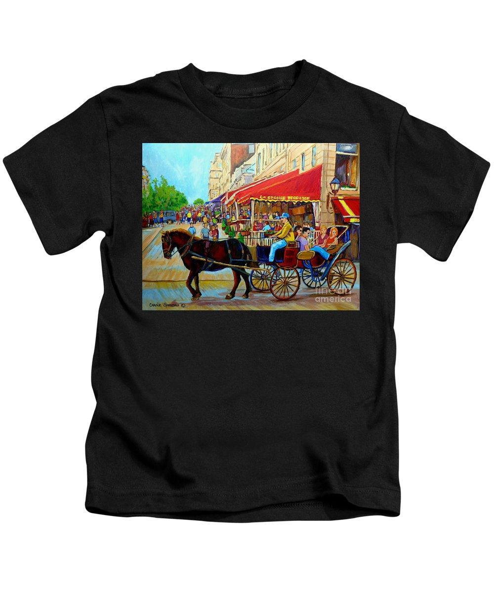 Cafe La Grande Terrasse Kids T-Shirt featuring the painting Cafe La Grande Terrasse by Carole Spandau