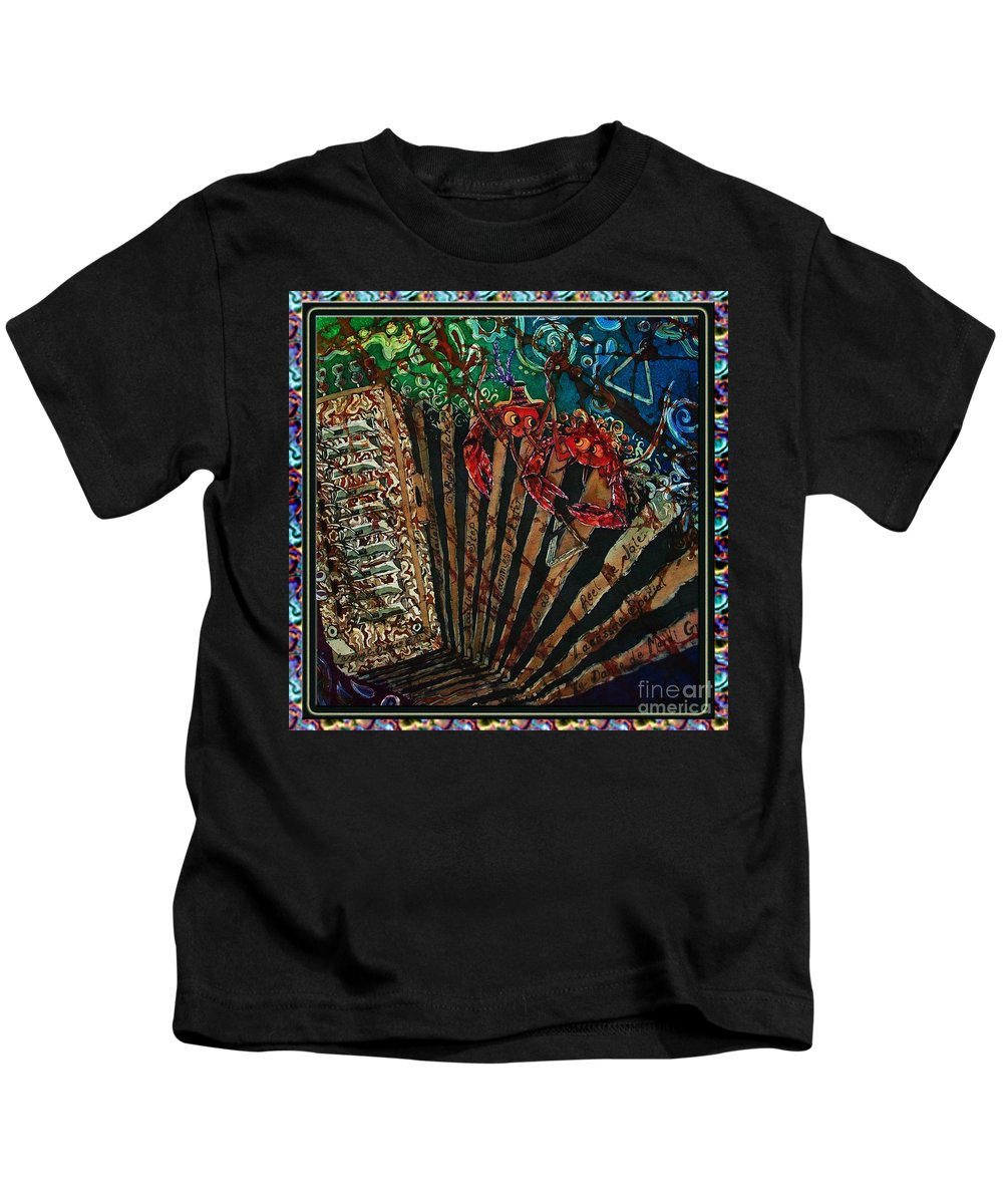 Acadian Kids T-Shirt featuring the painting Cajun Accordian - Bordered by Sue Duda