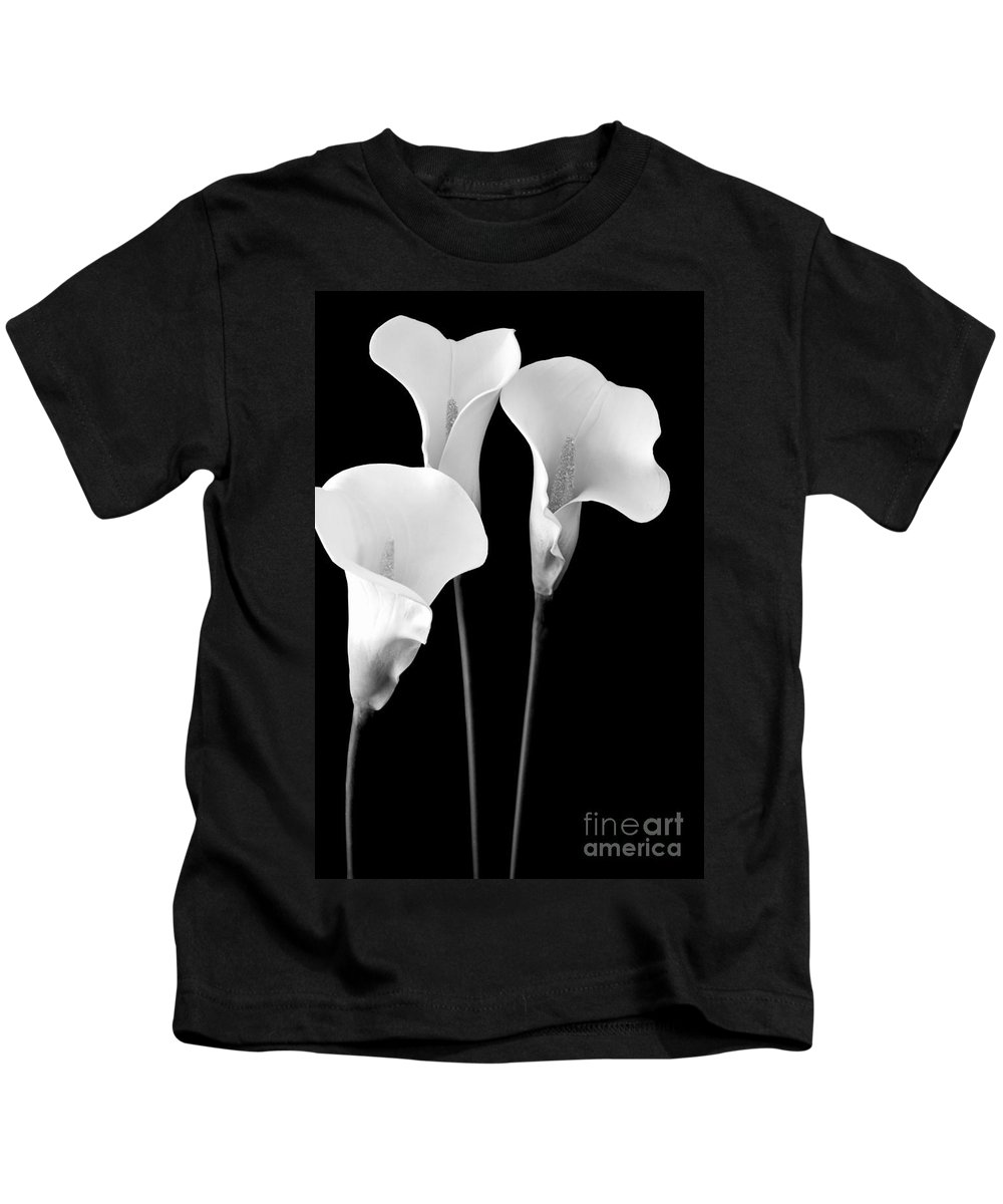 Calla Lily Kids T-Shirt featuring the photograph Calla Lilies In Triplicate In Black And White by Mary Deal