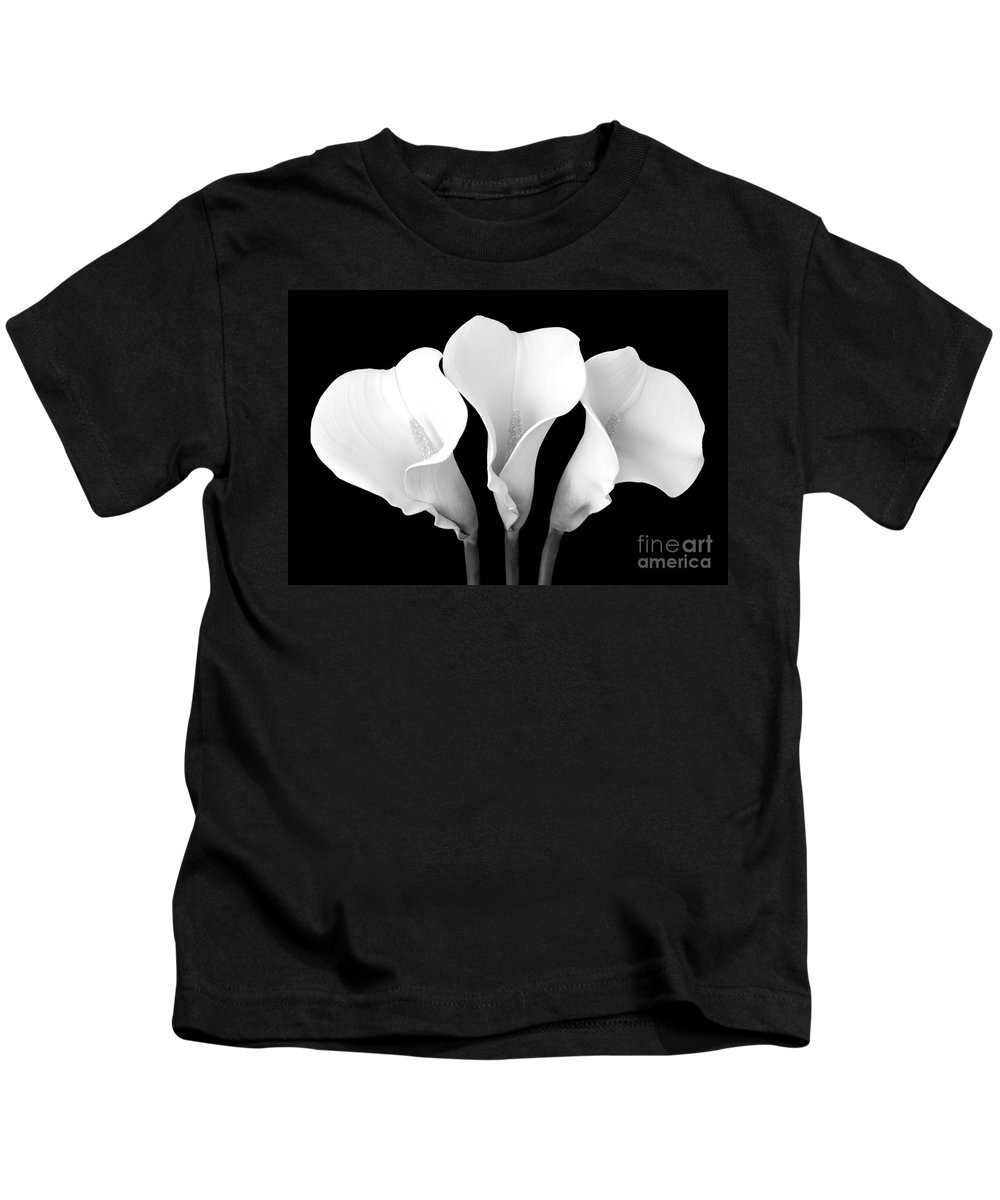 Cally Lily Kids T-Shirt featuring the photograph Calla Lily Trio In Black And White by Mary Deal