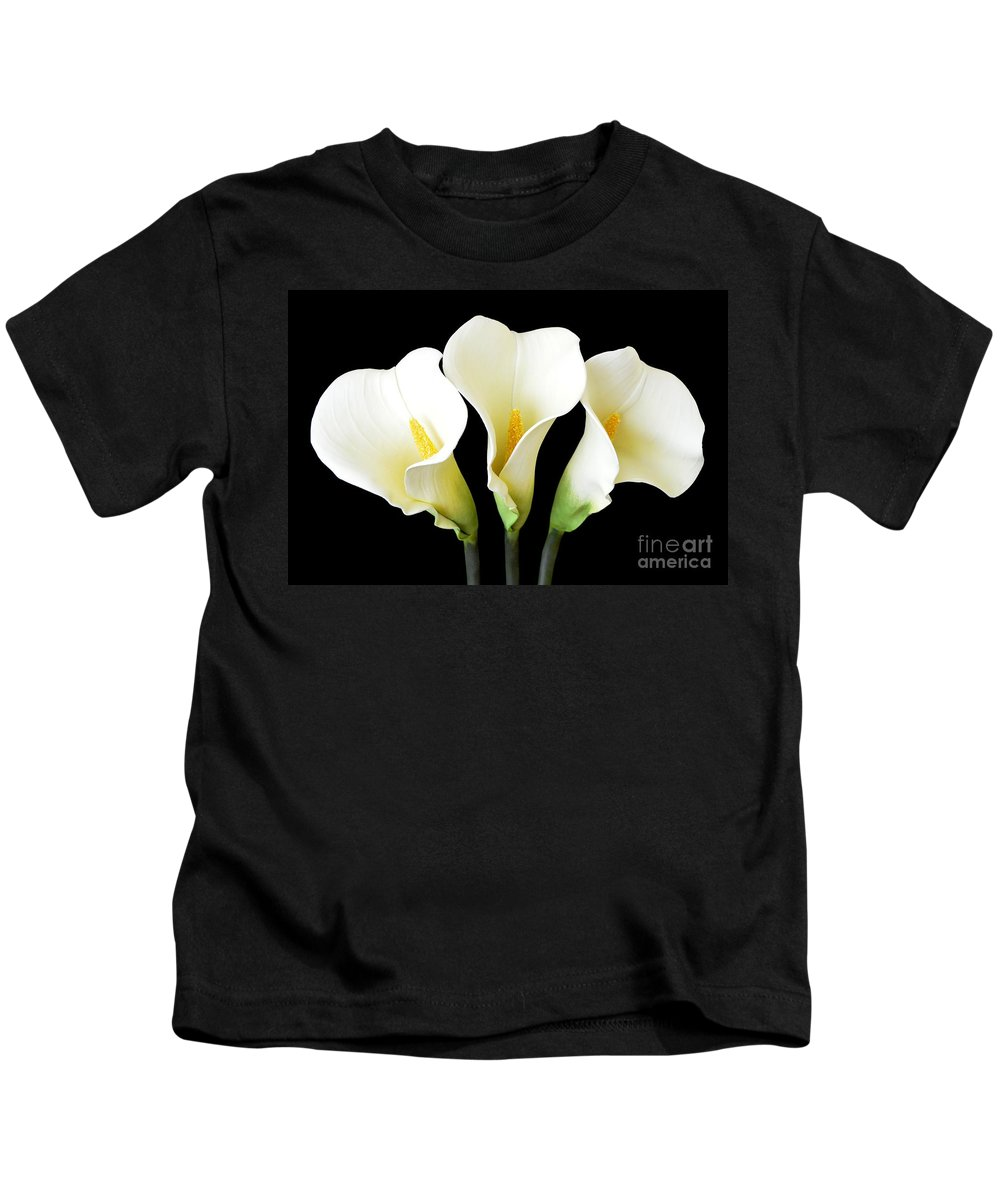 Cally Lily Kids T-Shirt featuring the photograph Calla Lily Trio by Mary Deal