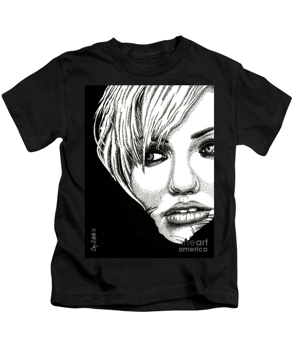 Cameron Diaz Kids T-Shirt featuring the drawing Cameron Diaz by Cory Still