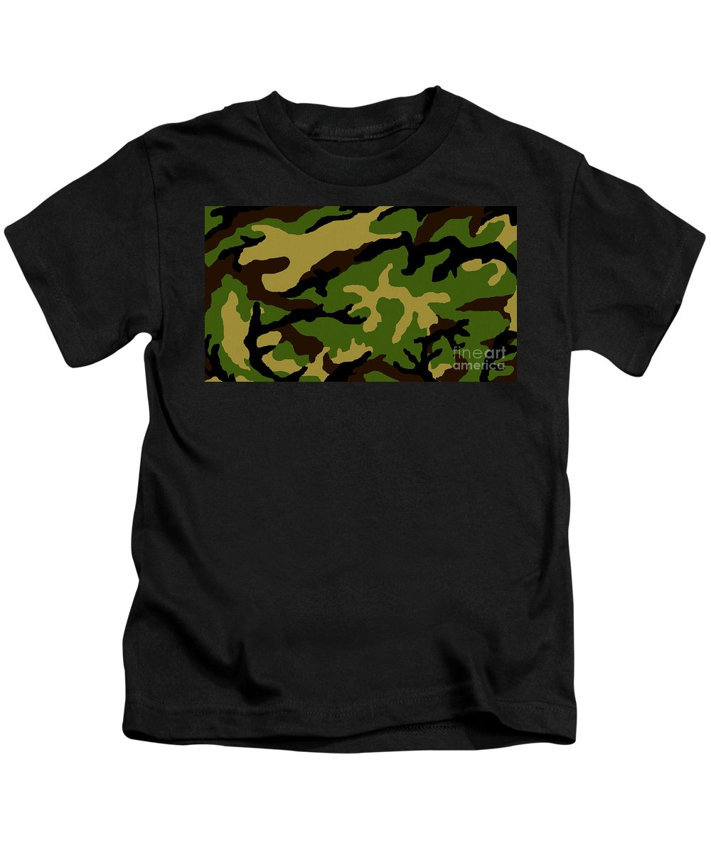 Camouflage Military Tribute Kids T-Shirt featuring the painting Camouflage Military Tribute by Roz Abellera