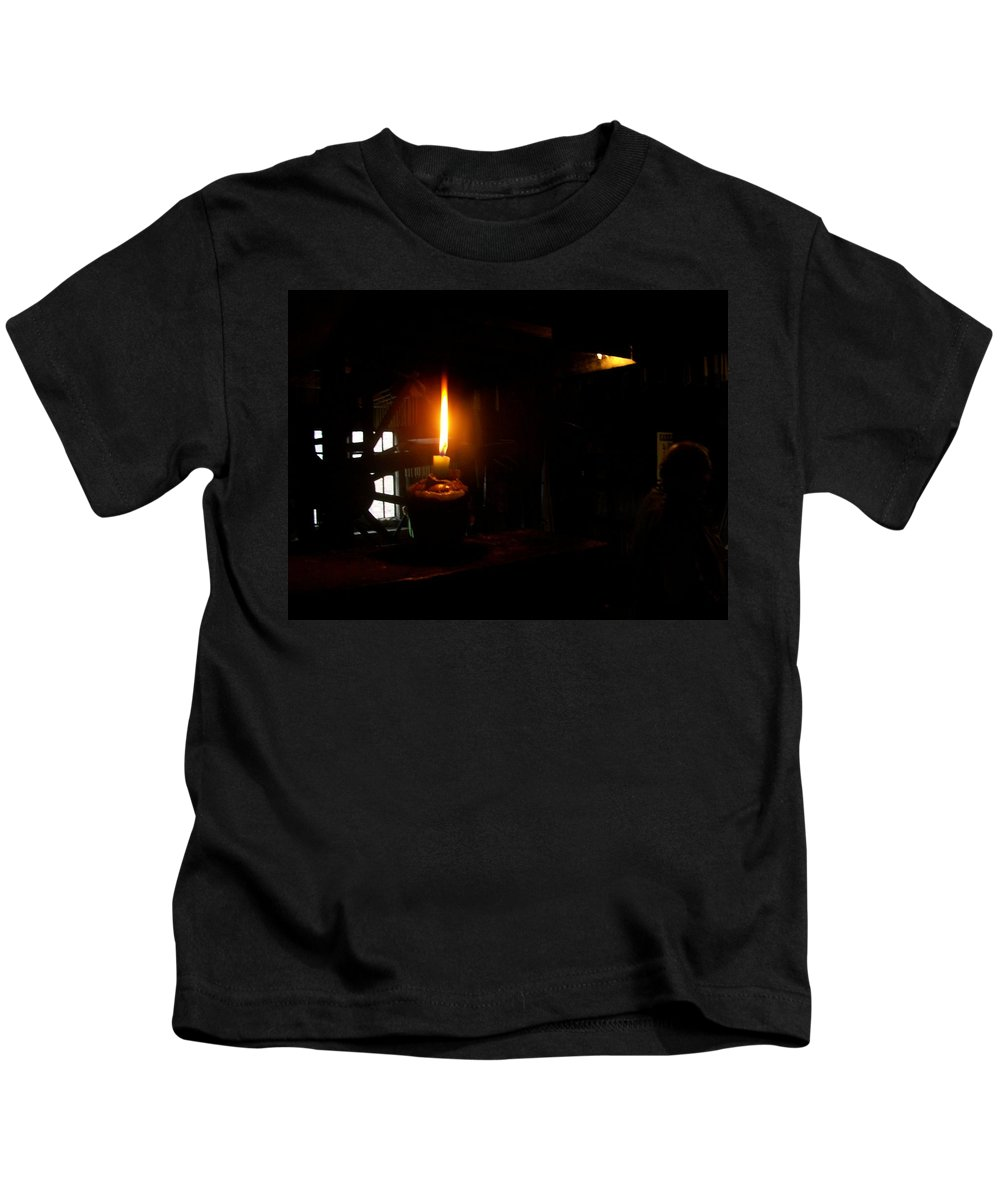 Candle Kids T-Shirt featuring the photograph Candle Flame Double Wick by Asa Jones