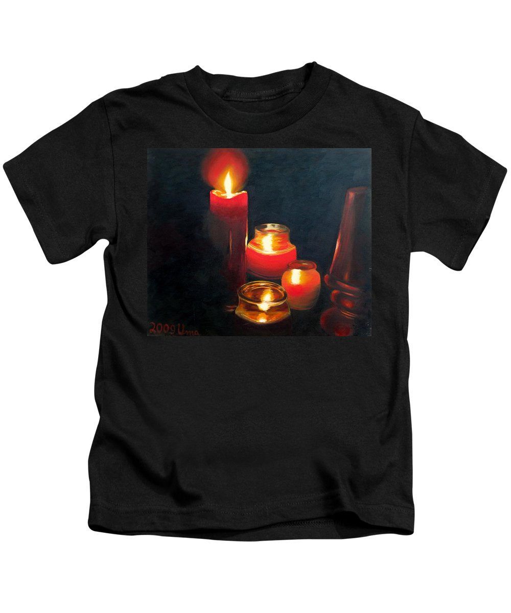Candles And Lamp Kids T-Shirt featuring the painting Candles And Lamp by Uma Krishnamoorthy