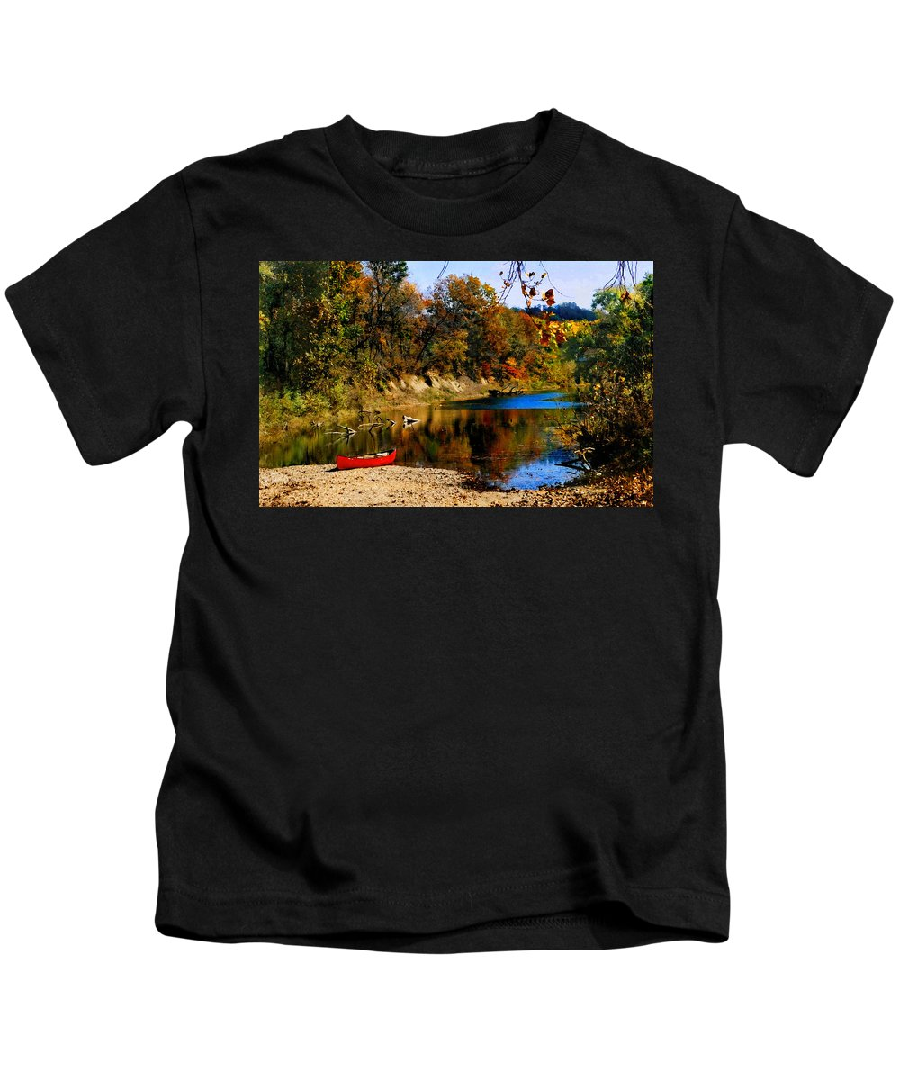 Autumn Kids T-Shirt featuring the photograph Canoe On The Gasconade River by Steve Karol