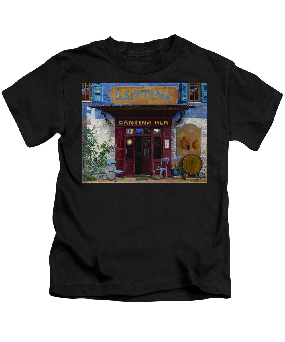 Cantina Kids T-Shirt featuring the painting cantina Ala by Guido Borelli