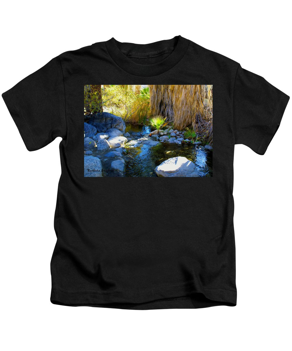 Canyon Creek Baby Palm Kids T-Shirt featuring the digital art Canyon Creek Baby Palm by Barbara Snyder