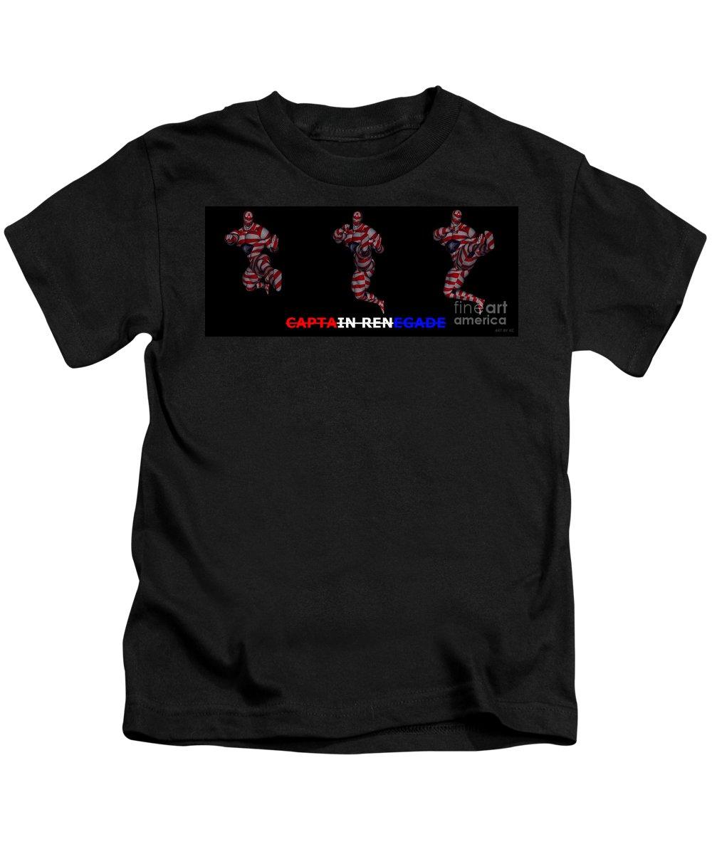 Captain Renegade Kids T-Shirt featuring the digital art Captain Renegade Super Hero Jumping Karate Kick by R Muirhead Art