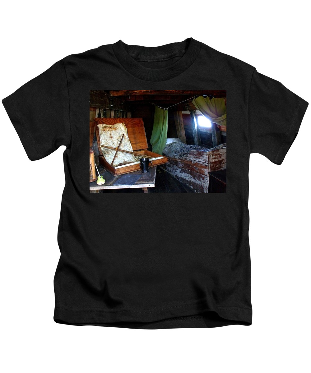Captain Kids T-Shirt featuring the photograph Captain's Quarters Aboard The Mayflower by Marilyn Holkham
