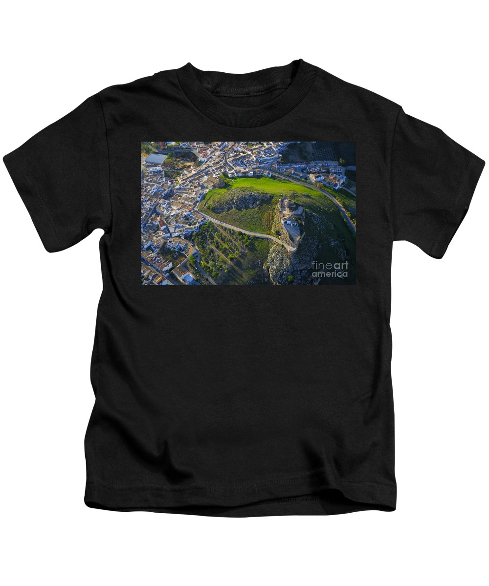 Architecture Kids T-Shirt featuring the photograph Carcabuey Castle From The Air by Guido Montanes Castillo