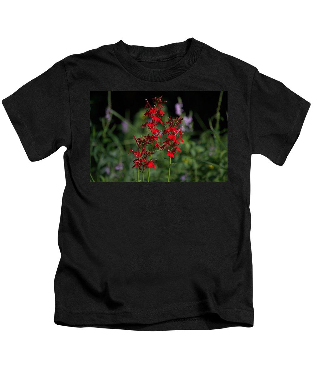 Cardinal Flower Kids T-Shirt featuring the photograph Cardinal Flowers by Bonfire Photography