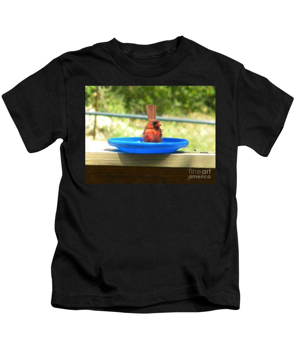 Cardinal Kids T-Shirt featuring the photograph Cardinal Frisbee by Nathanael Smith