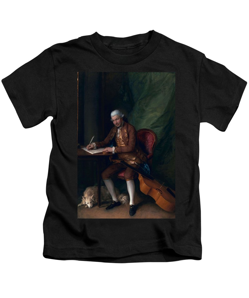Male Kids T-Shirt featuring the painting Carl Friedrich Abel, C.1777 by Thomas Gainsborough