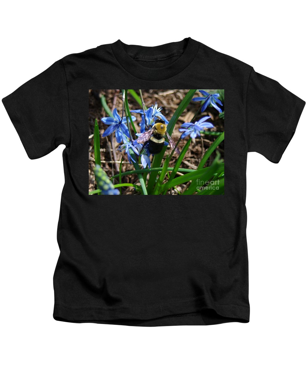 Carpenter Bee Kids T-Shirt featuring the photograph Carpenter by Kitrina Arbuckle