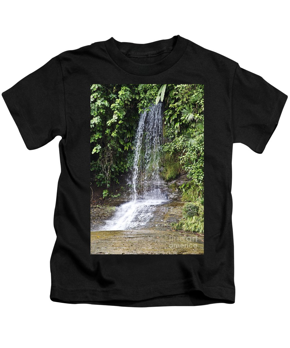 Waterfalls Kids T-Shirt featuring the photograph Cascada Pequena by Kathy McClure