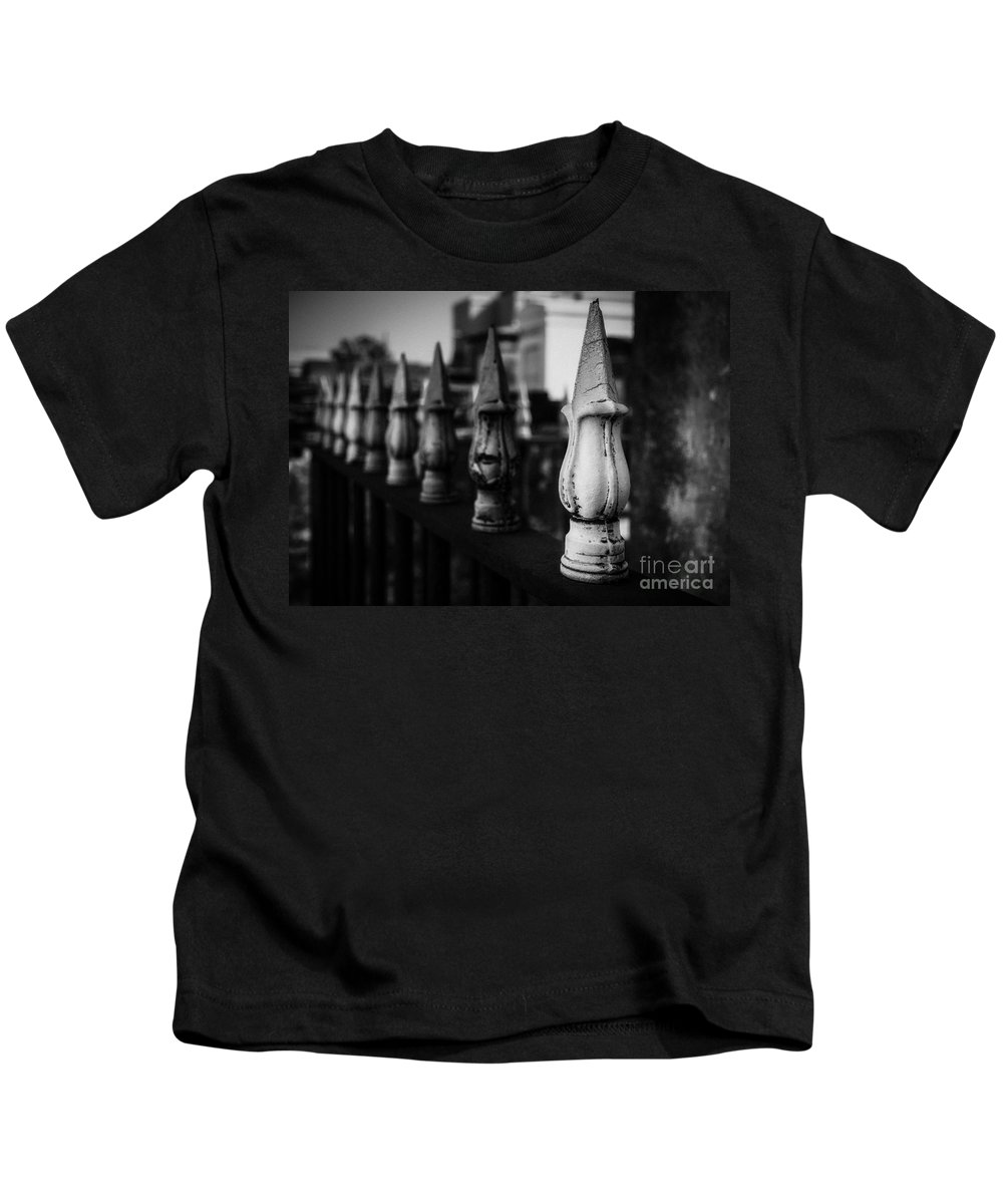 Cemetery Kids T-Shirt featuring the photograph Cast Iron Spearheads Noir by Kathleen K Parker
