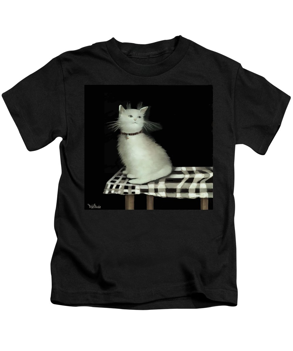 Diane Strain Kids T-Shirt featuring the painting Cat On Checkered Tablecloth  No. 2 by Diane Strain