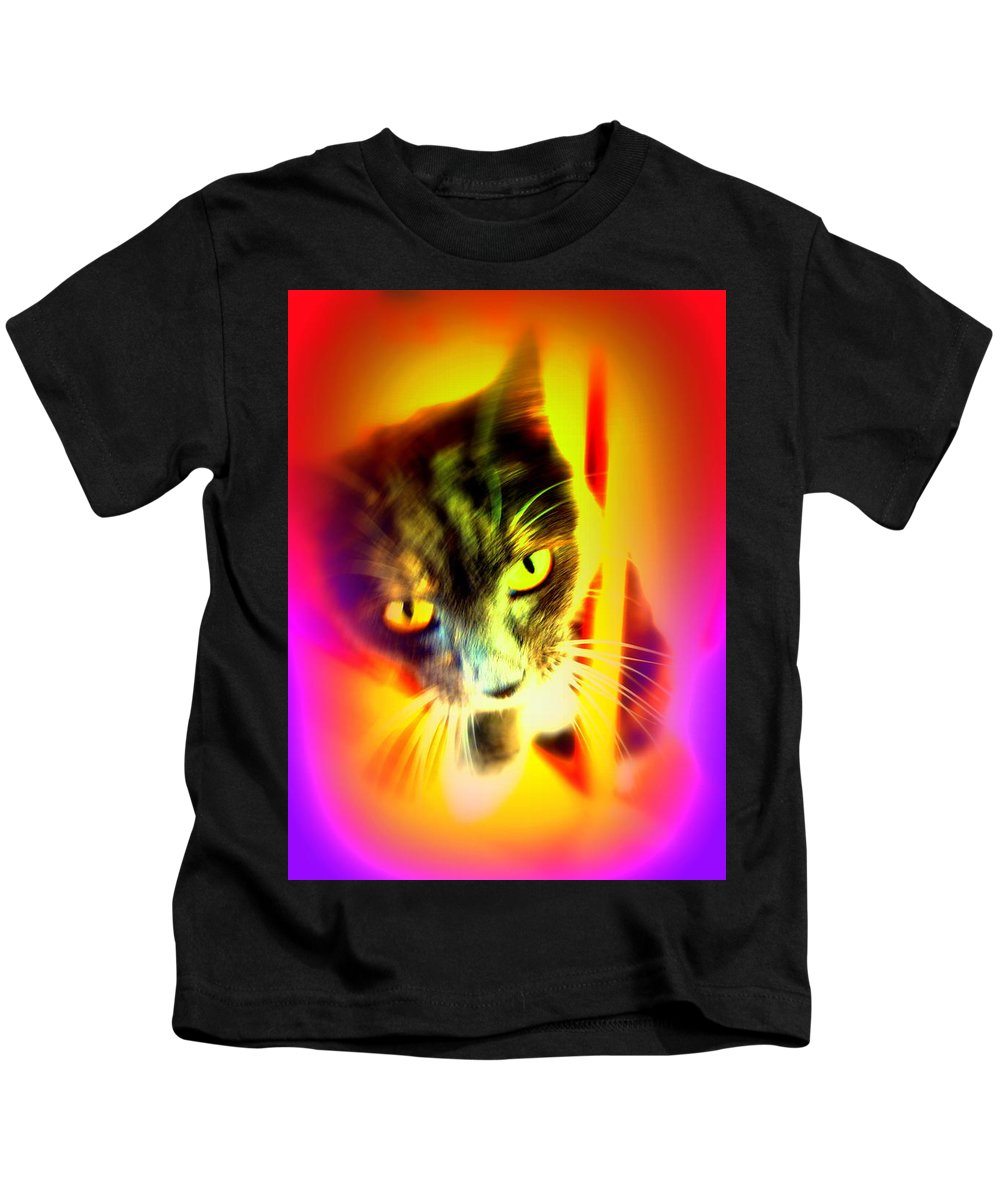 Cat Kids T-Shirt featuring the photograph You Can Come And Visit The Cat People by Hilde Widerberg