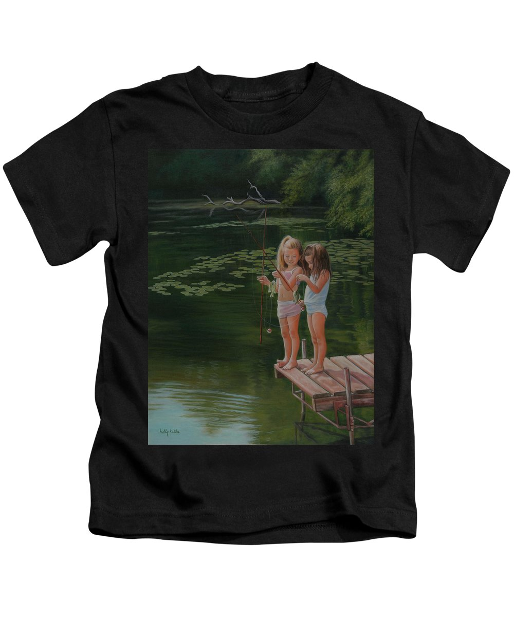 Realistic Kids T-Shirt featuring the painting Catch Of The Day by Holly Kallie