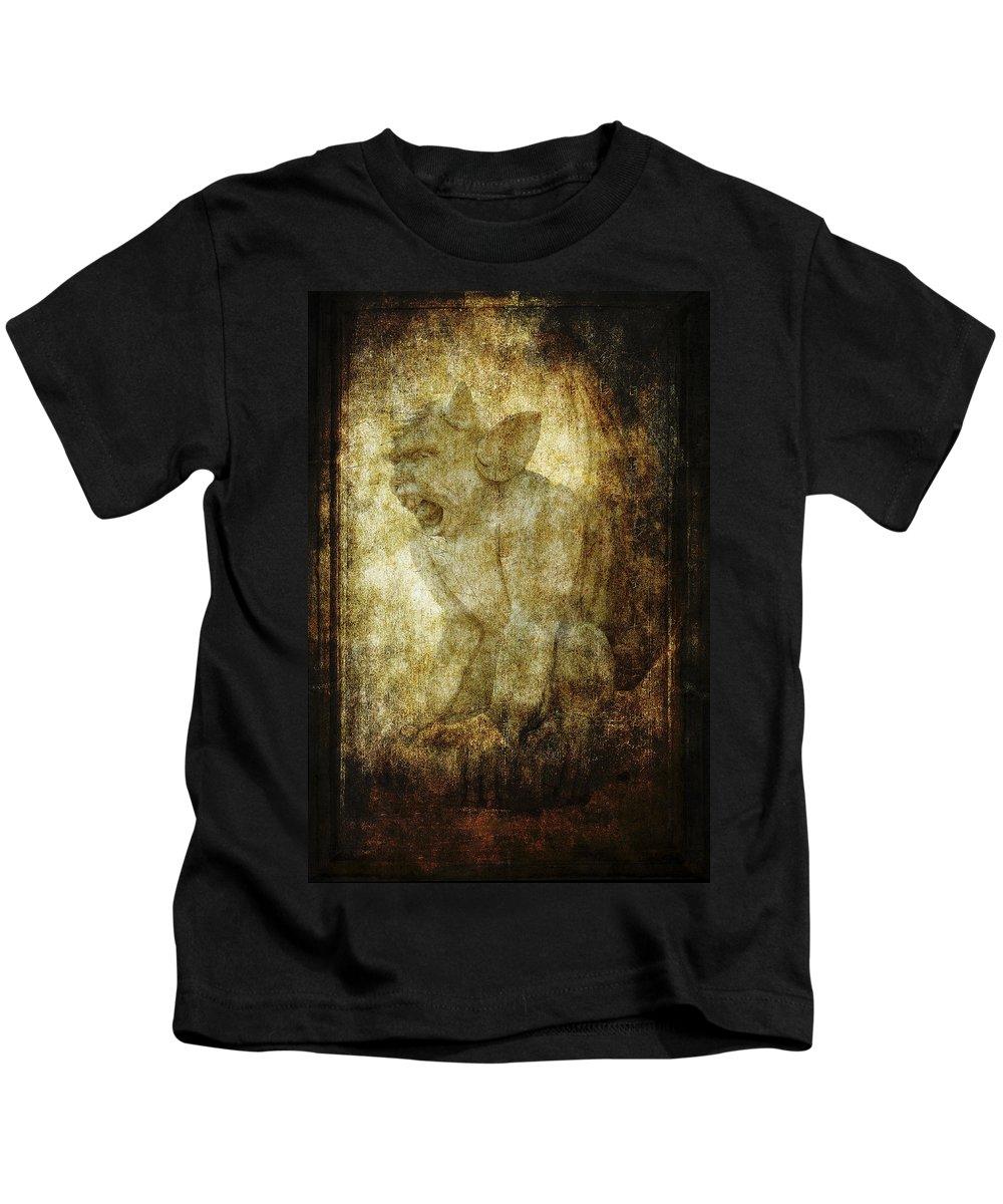Gargoyles Kids T-Shirt featuring the photograph Cathedral Gargoyle by Daniel Hagerman