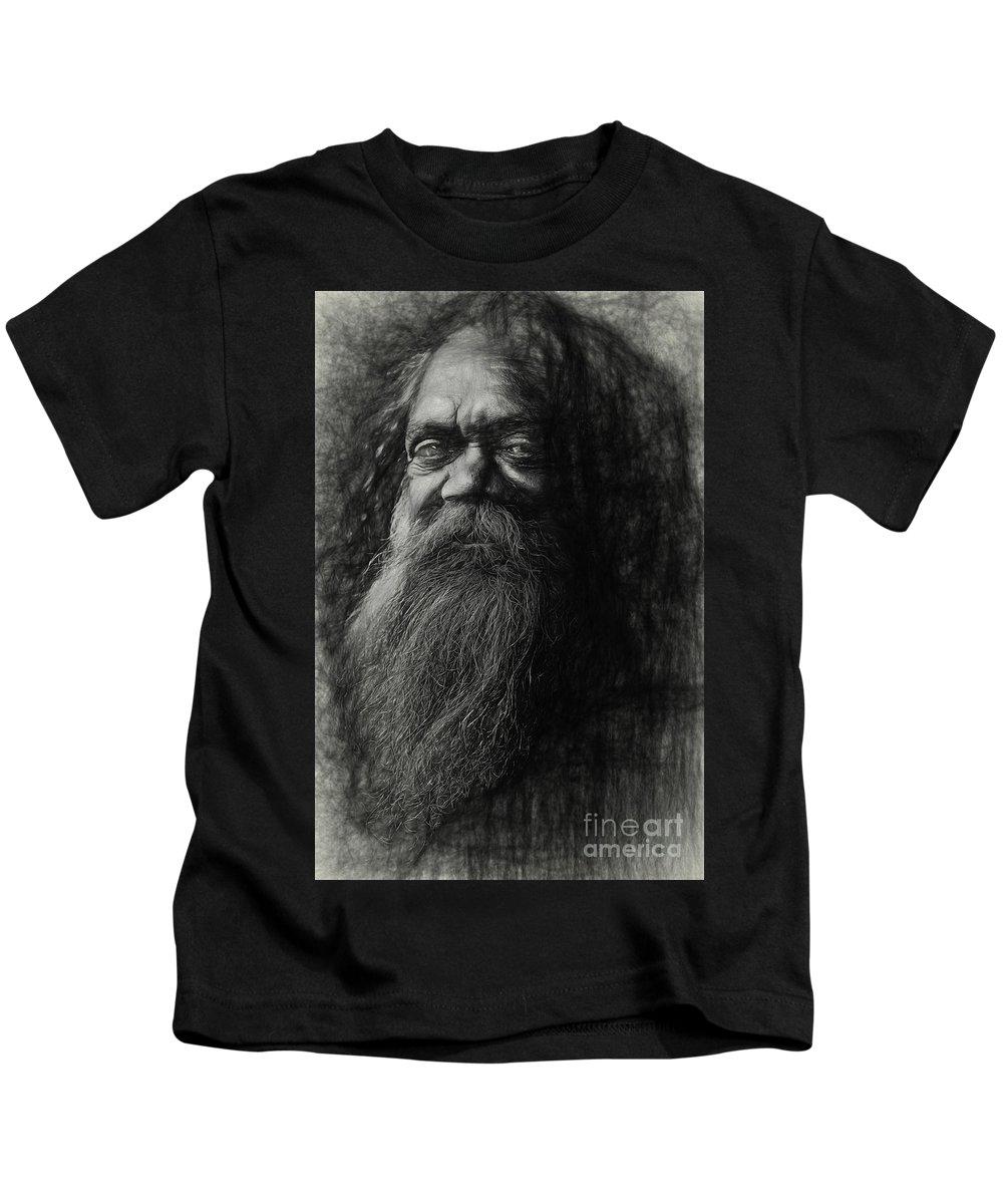 Busker Kids T-Shirt featuring the photograph Cedric aboriginal busker by Sheila Smart Fine Art Photography