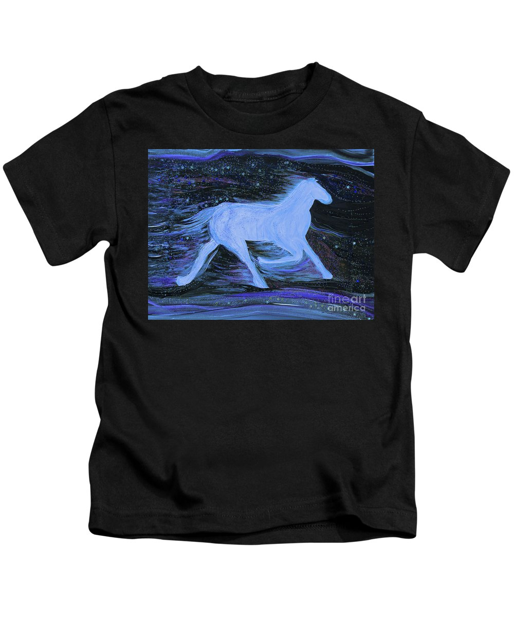 First Star Art Kids T-Shirt featuring the painting Celestial By Jrr by First Star Art