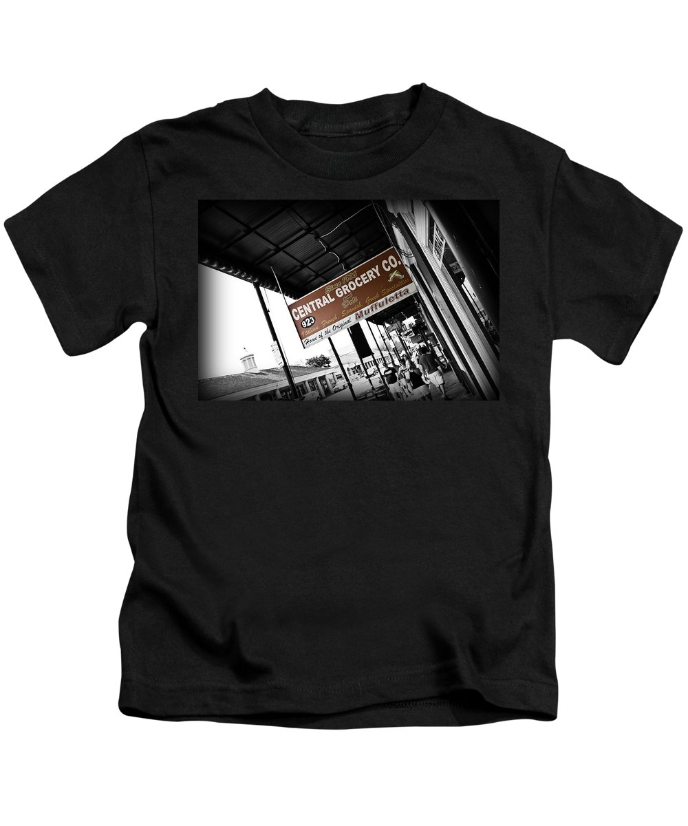 Black & White Kids T-Shirt featuring the photograph Central Grocery by Scott Pellegrin