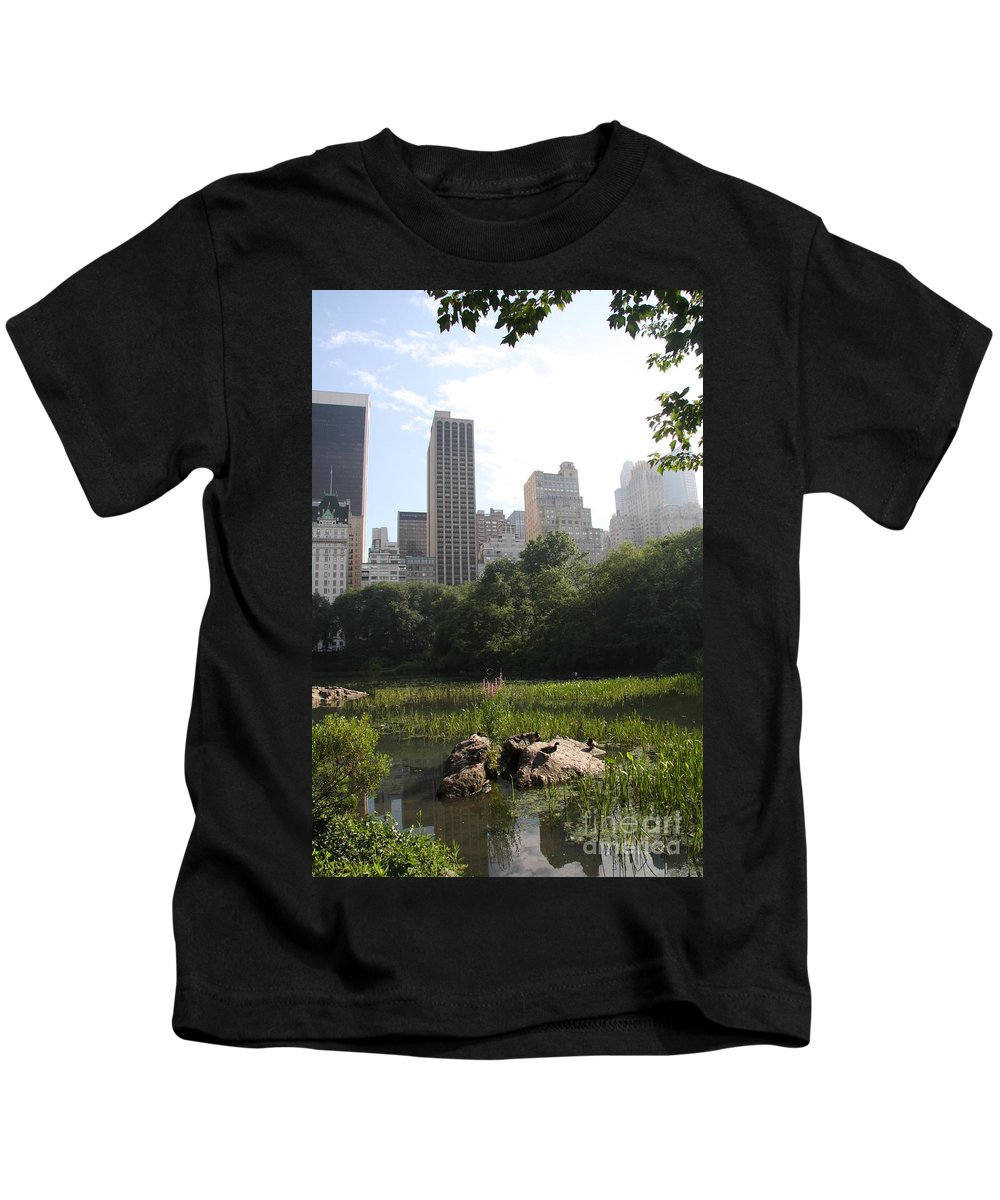 Skyline Kids T-Shirt featuring the photograph Central Park Pond And Skyline by Christiane Schulze Art And Photography
