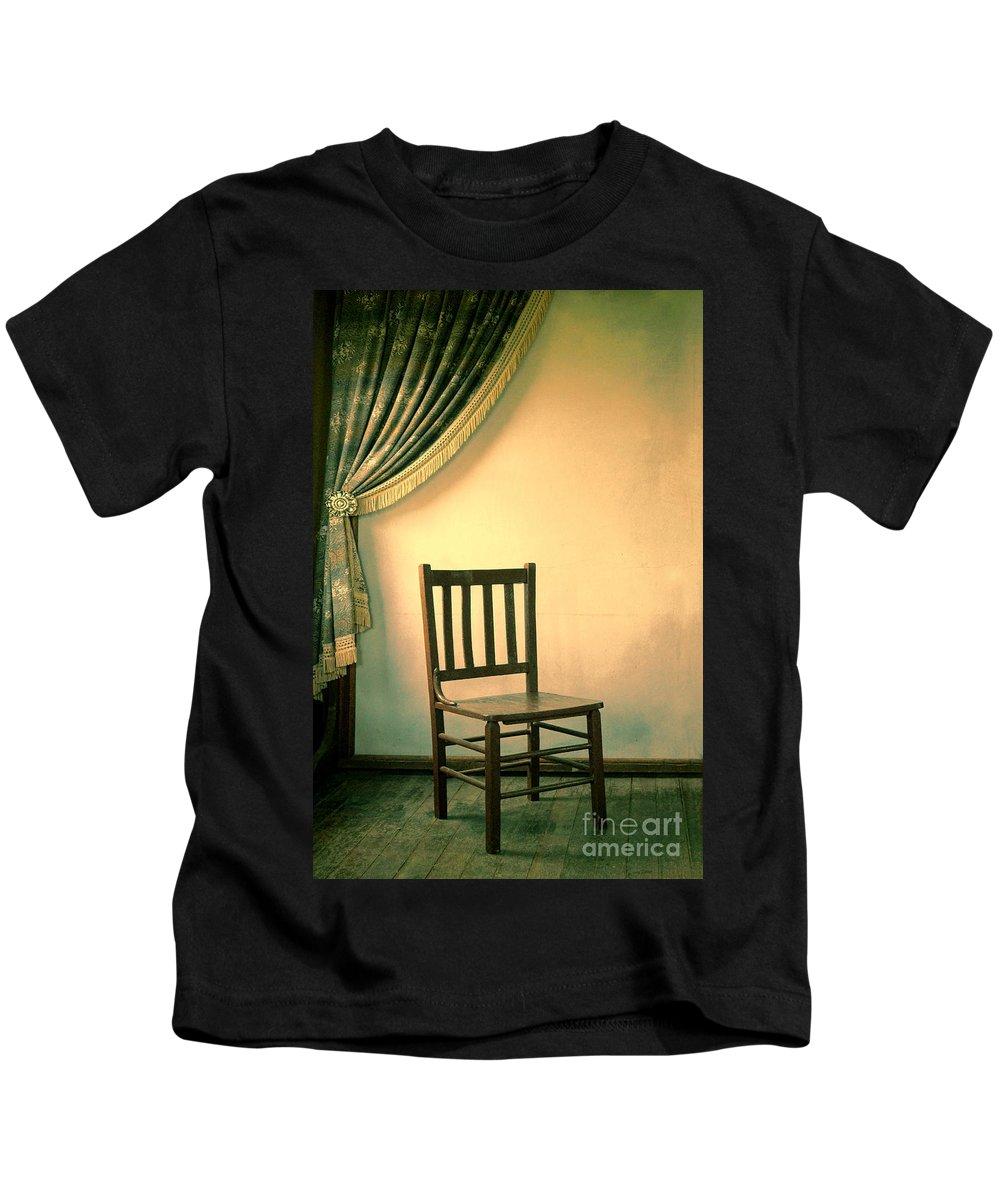 Curtain Kids T-Shirt featuring the photograph Chair And Curtain by Jill Battaglia