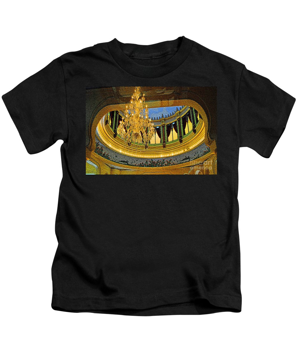 University Kids T-Shirt featuring the photograph Chandlier Theatre by Jost Houk