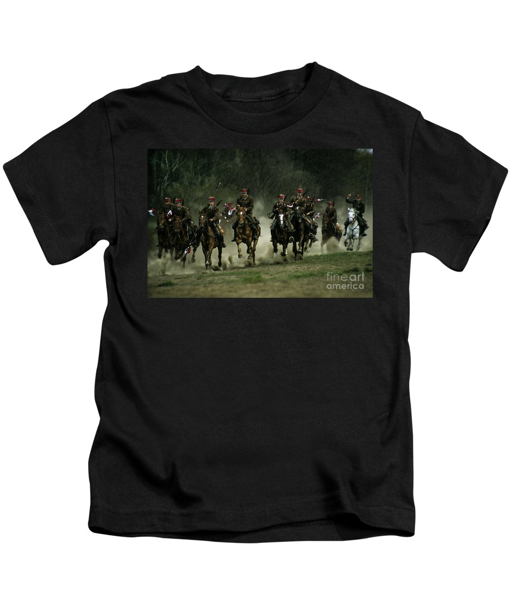 Cavalery Kids T-Shirt featuring the photograph Charge by Angel Ciesniarska