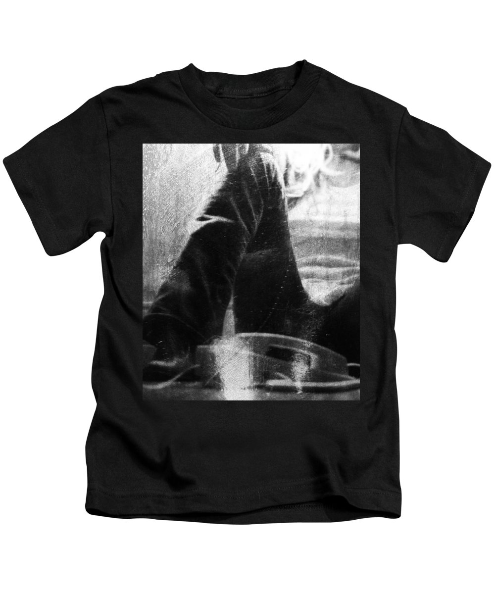 Phone Kids T-Shirt featuring the photograph Chat In Black by The Artist Project