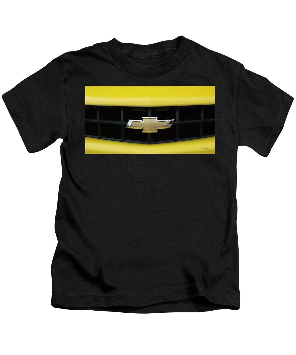 Transportation Kids T-Shirt featuring the photograph Chevy Camero Emblem 01 by Thomas Woolworth