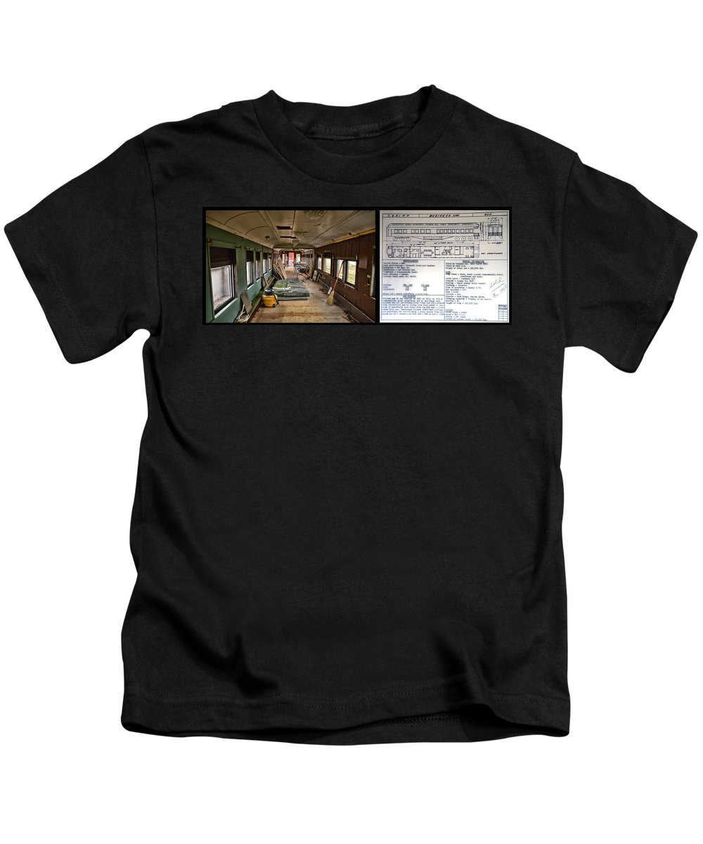 C&e Il Kids T-Shirt featuring the photograph Chicago Eastern Il Rr Business Car Restoration With Blue Print by Thomas Woolworth