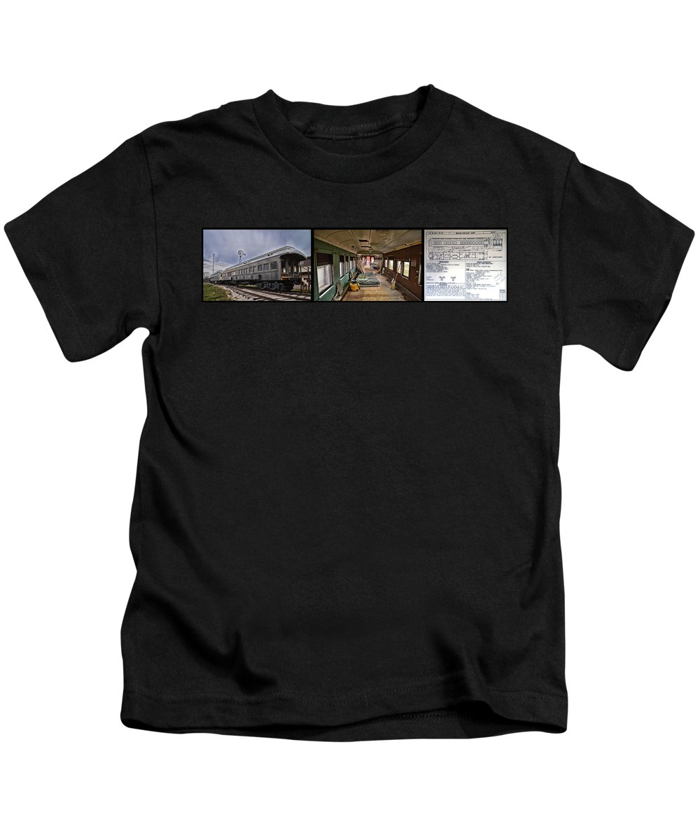 C&e Il Kids T-Shirt featuring the photograph Chicago Eastern Il Rr Car Restoration With Blue Print by Thomas Woolworth