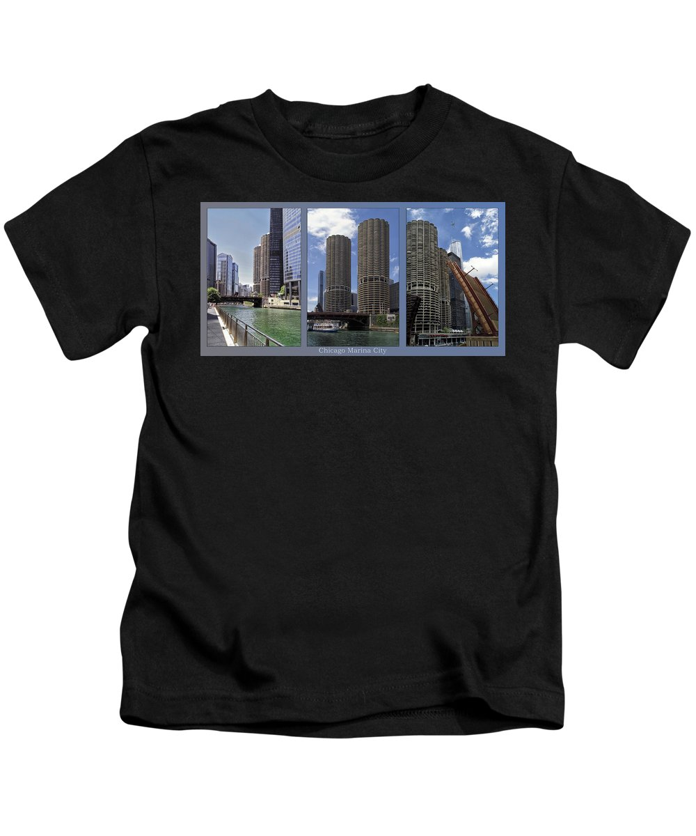 Chicago Kids T-Shirt featuring the photograph Chicago Marina City Triptych 3 Panel by Thomas Woolworth
