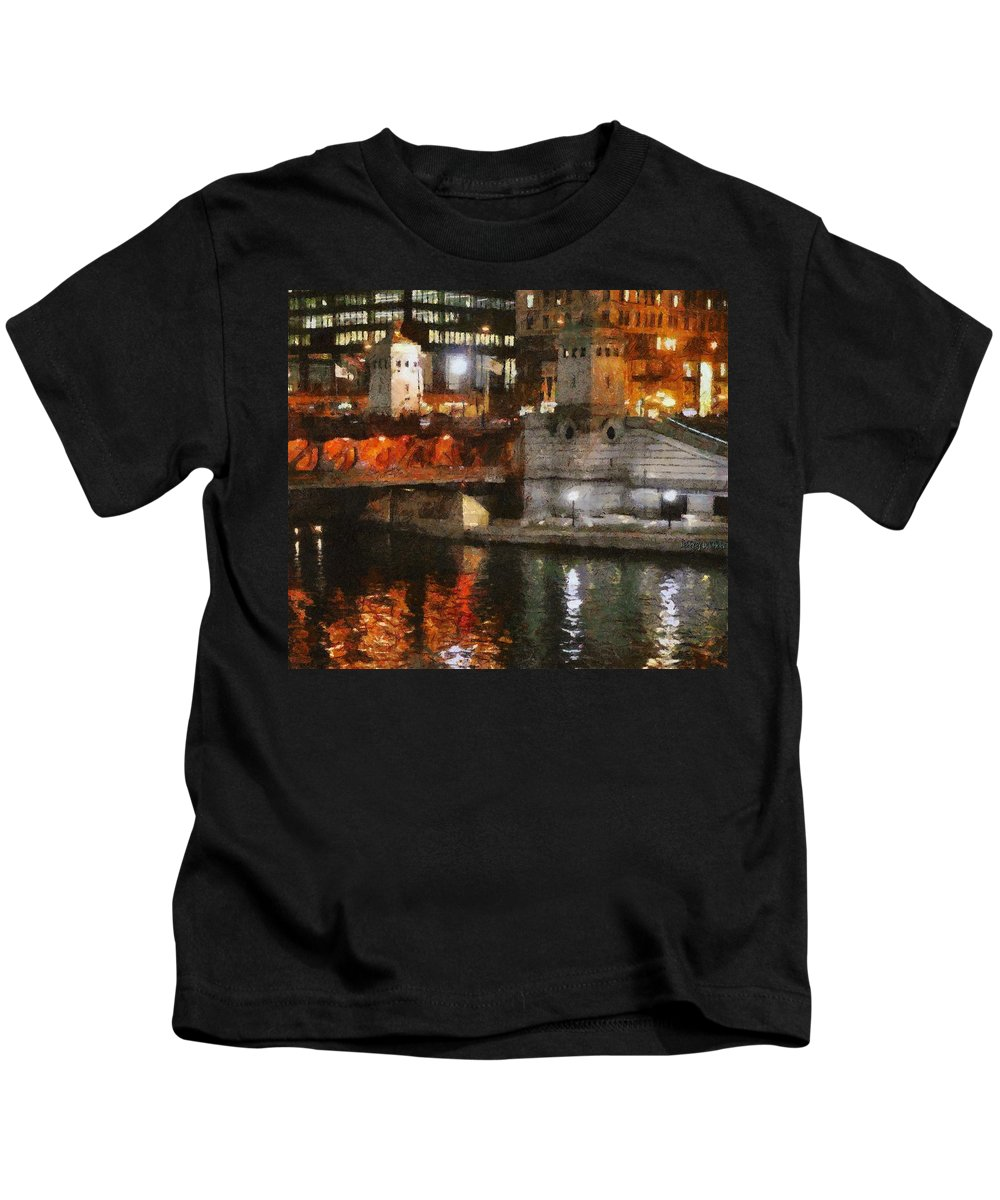 Bridge Kids T-Shirt featuring the painting Chicago River At Michigan Avenue by Jeffrey Kolker